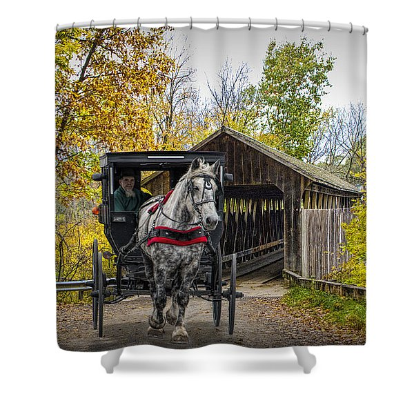 Wooden Covered Bridge And Amish Horse And Buggy In Autumn Shower Curtain