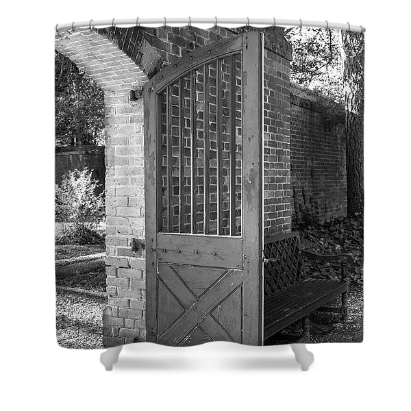 Wooden Garden Door B W Shower Curtain