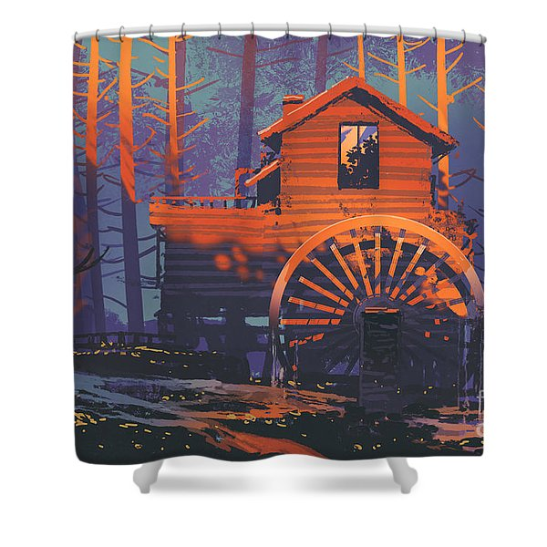 Shower Curtain featuring the painting Wooden House by Tithi Luadthong