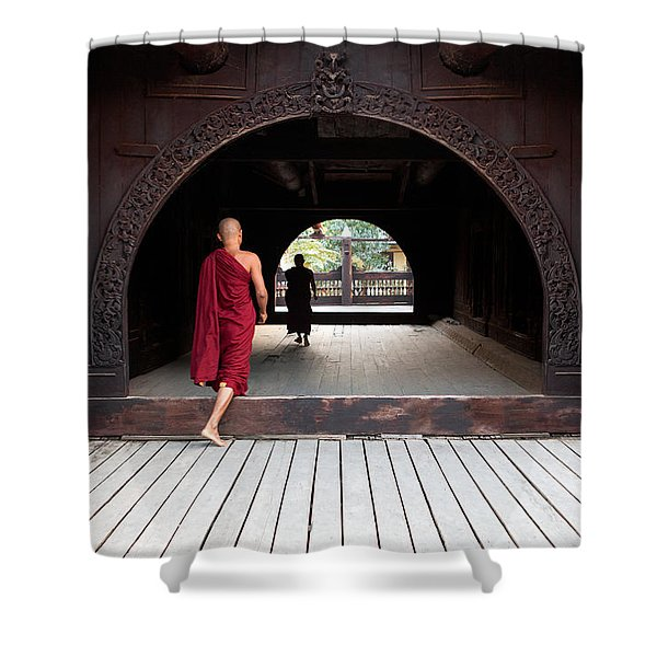 Wooden Monastery Shower Curtain