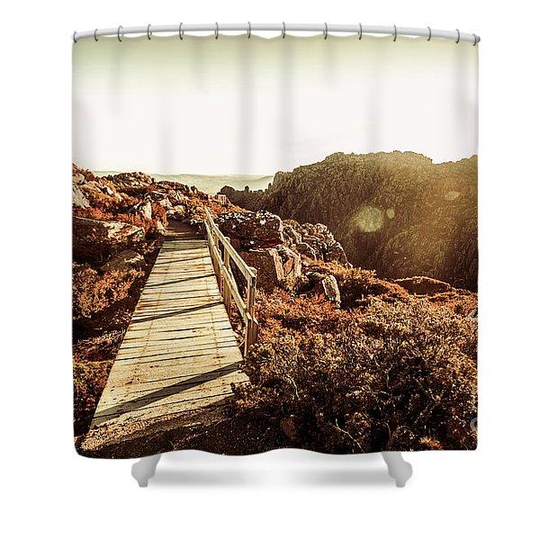 Wooden Mountain Paths Shower Curtain