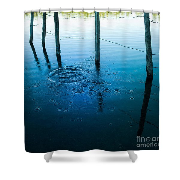 Wooden Post In A Lake Shower Curtain
