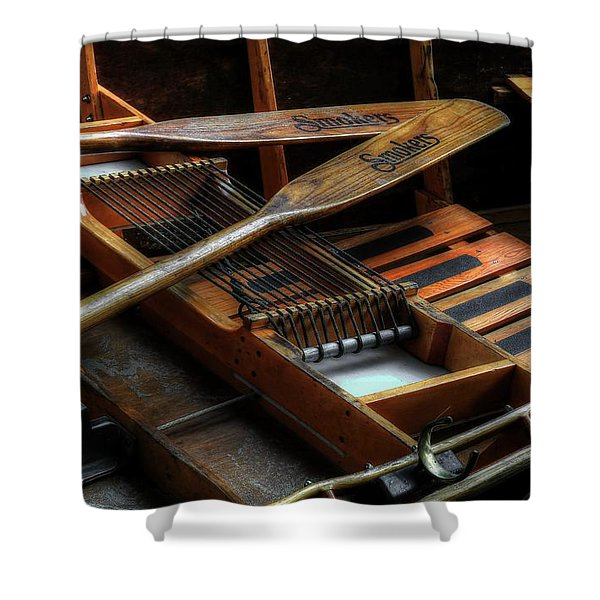 Wooden Rowboat And Oars Shower Curtain