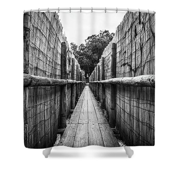 Wooden Walkway. Shower Curtain