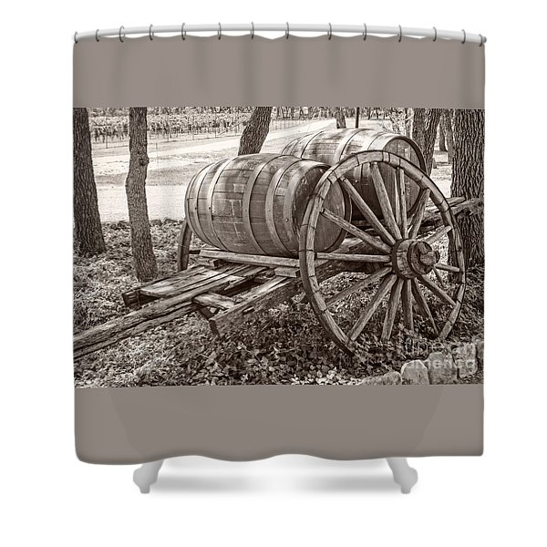Wooden Wine Barrels On Cart Shower Curtain