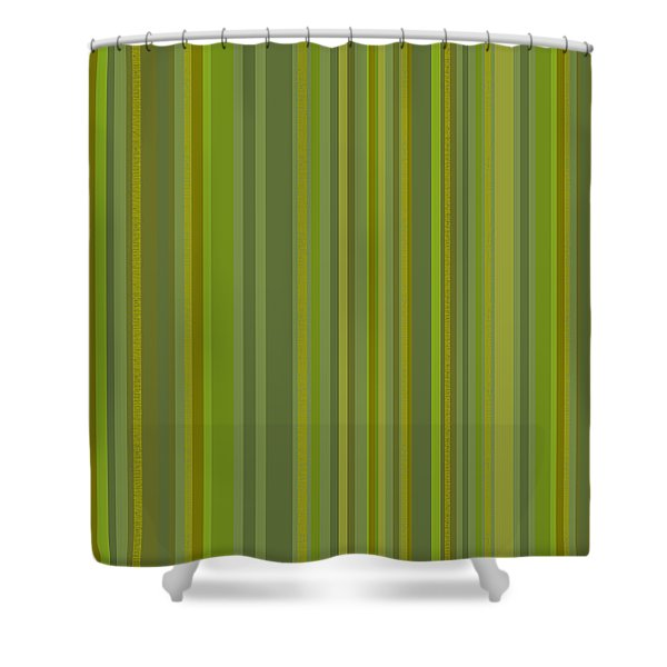 Woodland Moss - Stripes - Green Shower Curtain