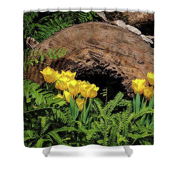 Woodland Tulip Garden Shower Curtain