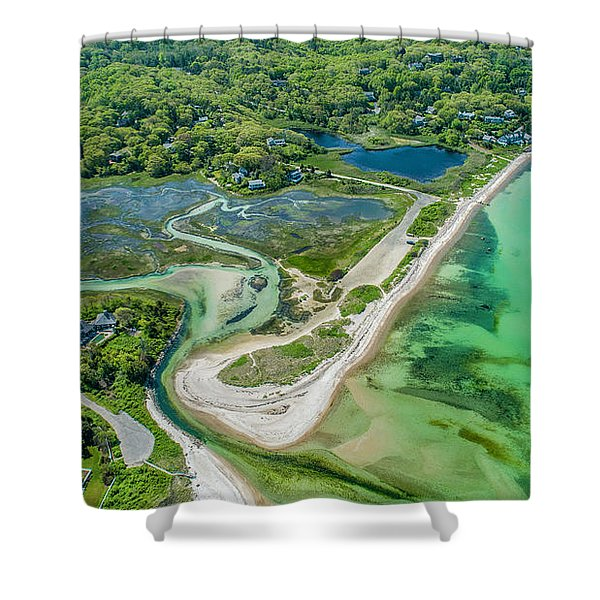 Woodneck Beach At 400 Feet Shower Curtain