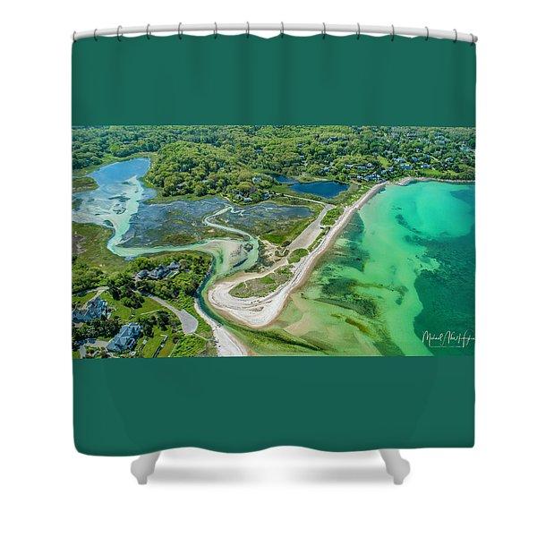 Woodneck Beach At 400 Feet Shower Curtain