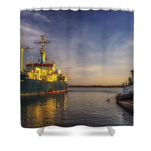 Woods Hole Ship Yard Shower Curtain