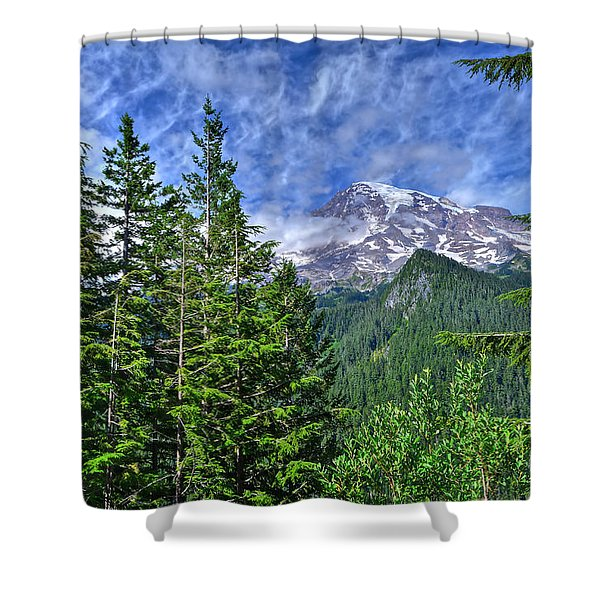 Woods Surrounding Mt. Rainier Shower Curtain