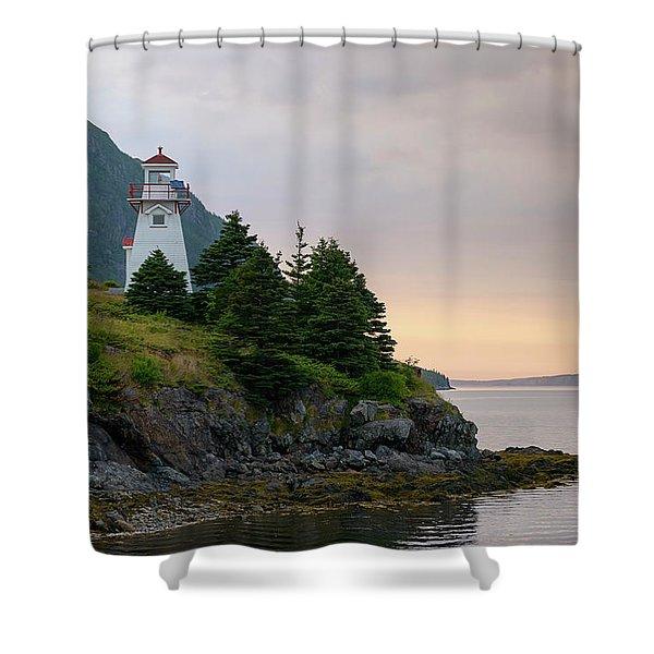 Woody Point Lighthouse - Bonne Bay Newfoundland At Sunset Shower Curtain