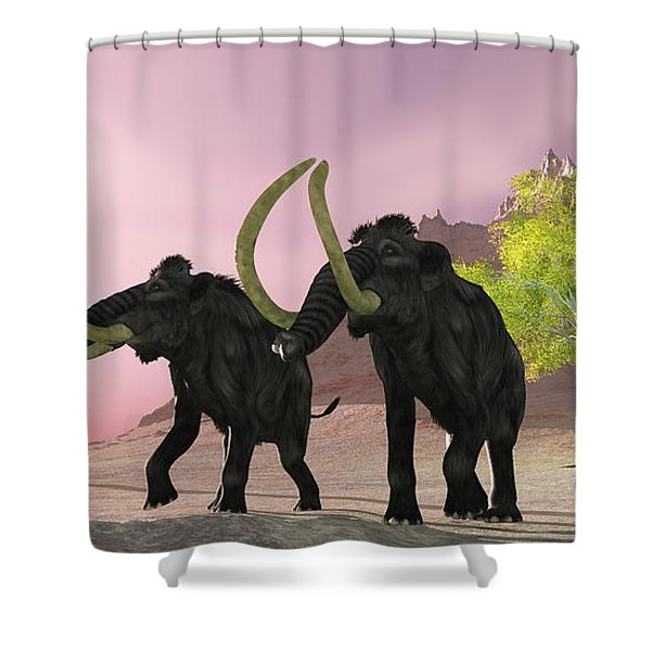 Woolly Mammoth Morning Shower Curtain