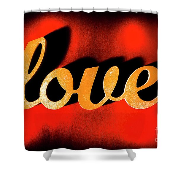 Words Of Love And Retro Romance Shower Curtain