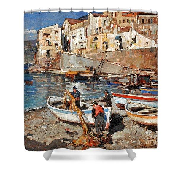 Work Never Ends For Amalfi Fishermen Shower Curtain
