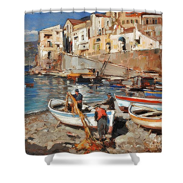 Shower Curtain featuring the painting Work Never Ends For Amalfi Fishermen by Rosario Piazza