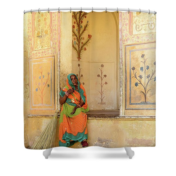 Workers In Amer Fort 01 Shower Curtain