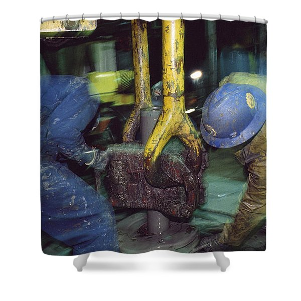 Workers On An Oil Rig Platform Shower Curtain
