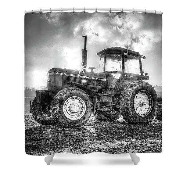 Workhorse John Deere Black And White Shower Curtain