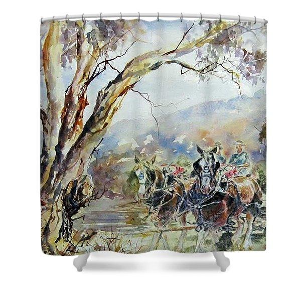 Working Clydesdale Pair, Australian Landscape. Shower Curtain