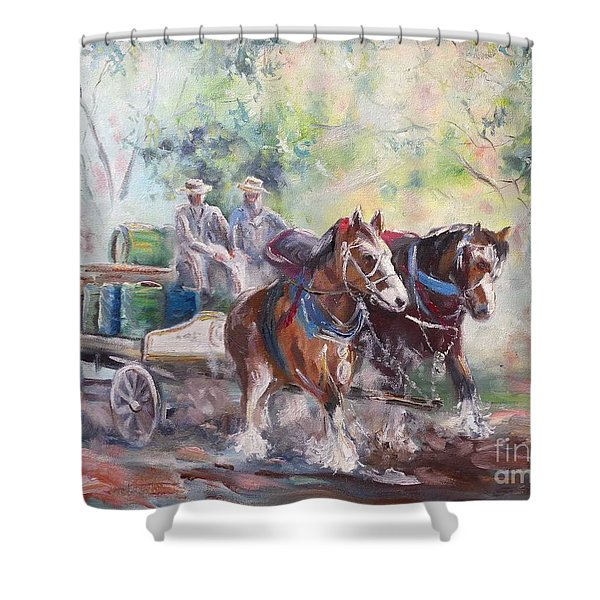 Working Clydesdale Pair, Victoria Breweries. Shower Curtain