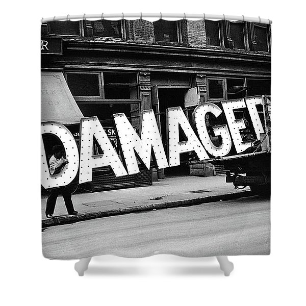 Workmen Hauling Damaged Sign Walker Evans Photo New York City 1930 Color Added 2008 Shower Curtain