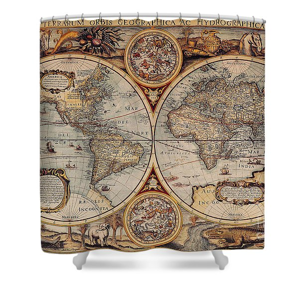 World Map 1636 Shower Curtain