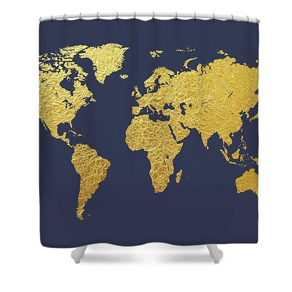 World Map Gold Foil Shower Curtain