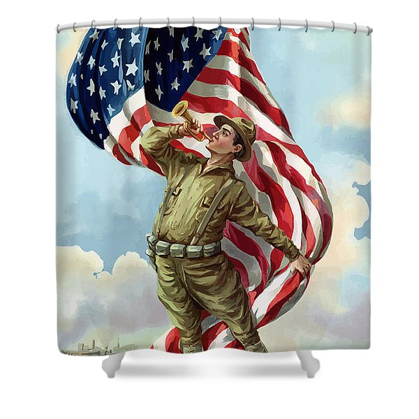 World War One Soldier Shower Curtain