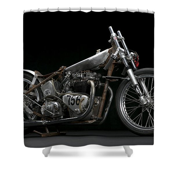 World's Fastest Vintage Triumph Shower Curtain
