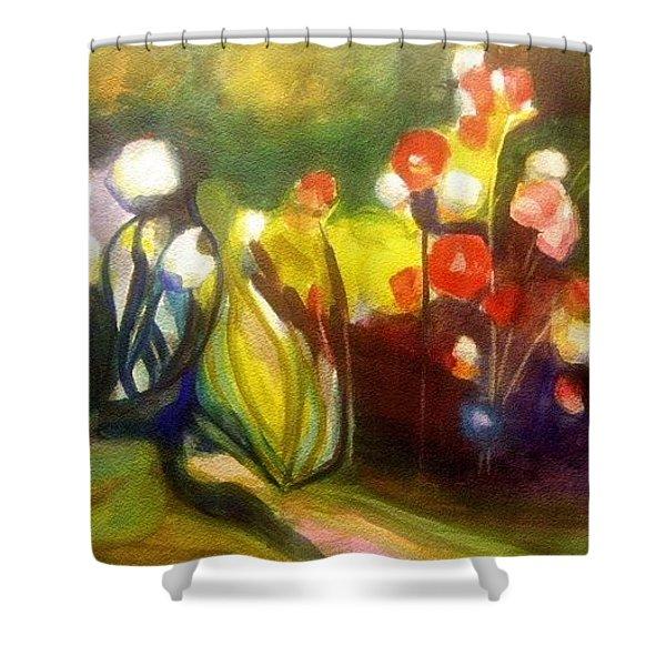 Warm Flowers In A Cool Garden Shower Curtain