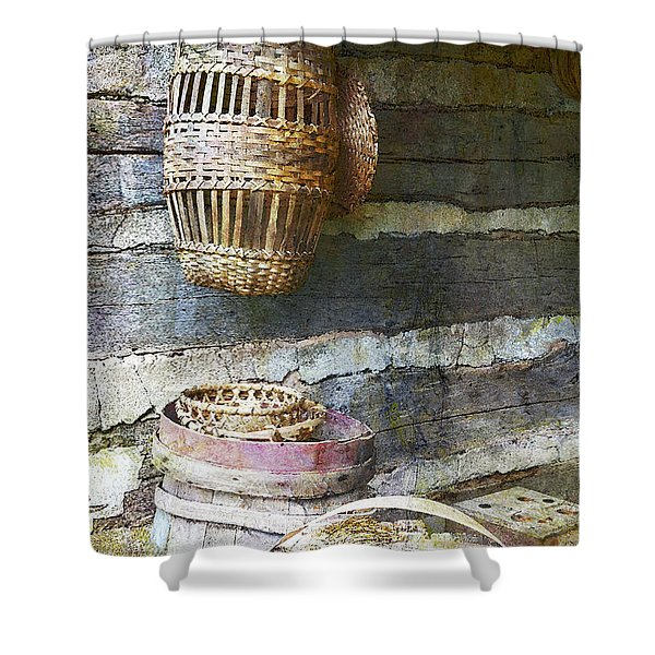 Woven Wood And Stone Shower Curtain