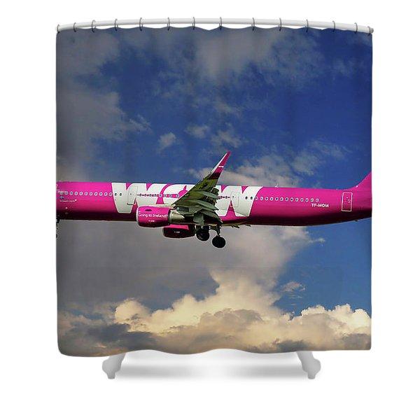 Wow Air Airbus A321-211 Shower Curtain