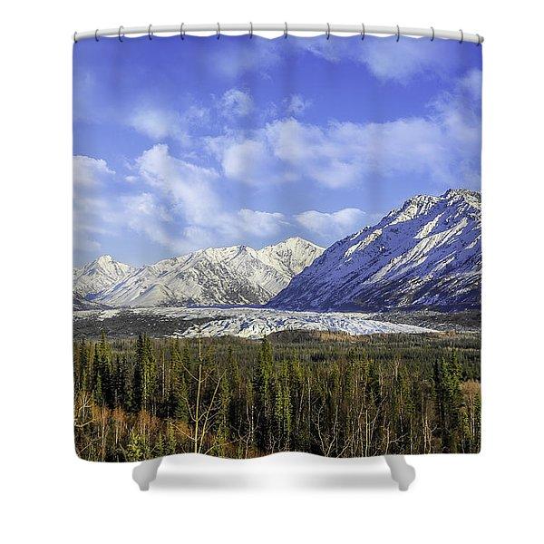 Wrangell Mountains Glacier Alaska Shower Curtain