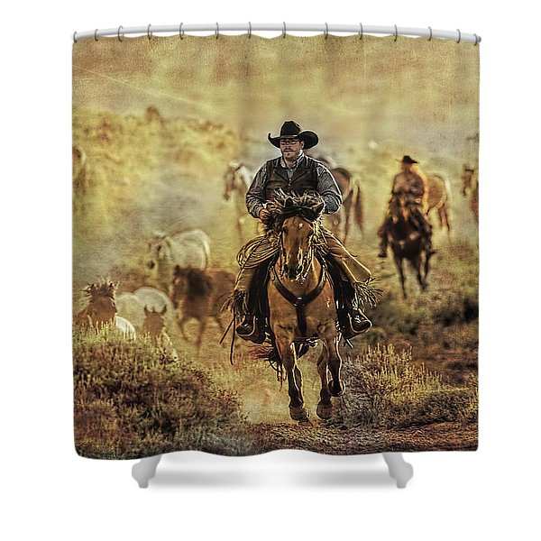 A Dusty Wyoming Wrangle Shower Curtain