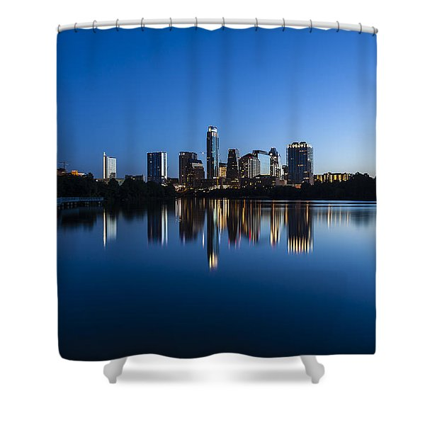 Wrapped In Blue Shower Curtain