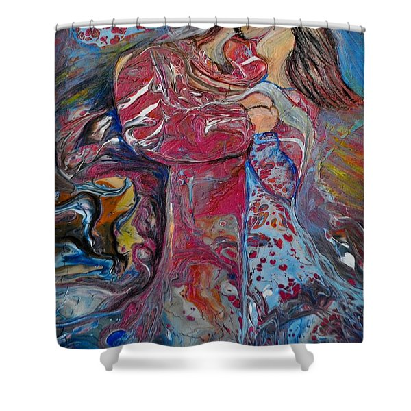 Shower Curtain featuring the painting Wrapped In Your Love by Deborah Nell