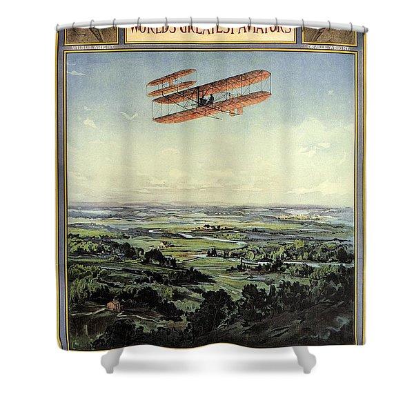 Wright Brothers - World's Greatest Aviators - Dayton, Ohio - Retro Travel Poster - Vintage Poster Shower Curtain