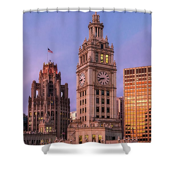 Wrigley And Tribune Buildings Shower Curtain