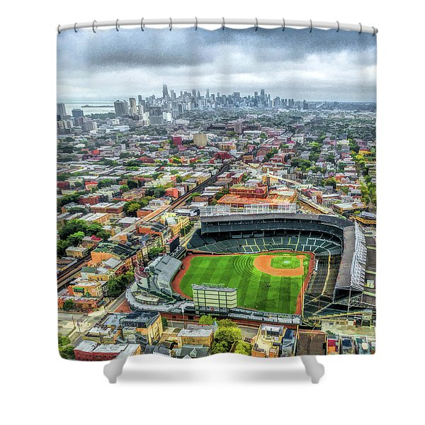 Wrigley Field Chicago Skyline Shower Curtain