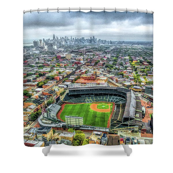 Wrigley Field Chicago Skyline Shower Curtain