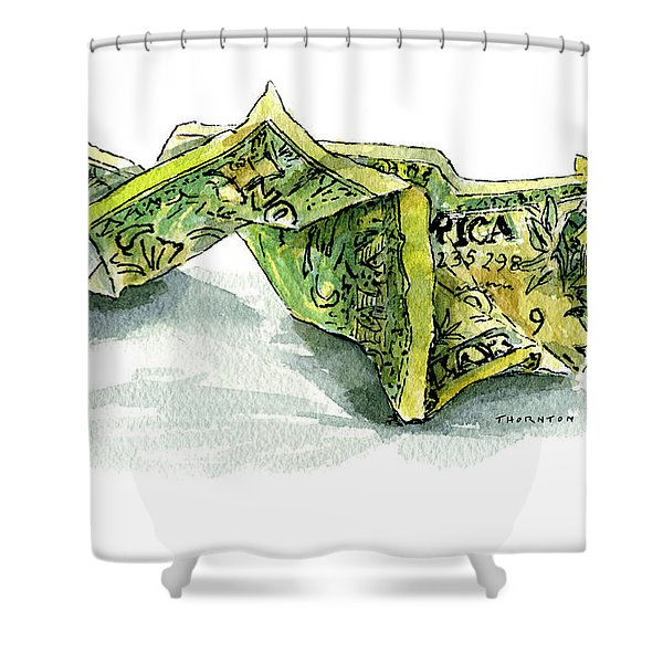 Wrinkled Dollar Shower Curtain