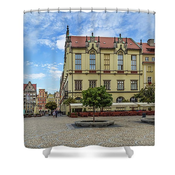 Wroclaw Market Square, New Town Hall And Tenement Houses Shower Curtain