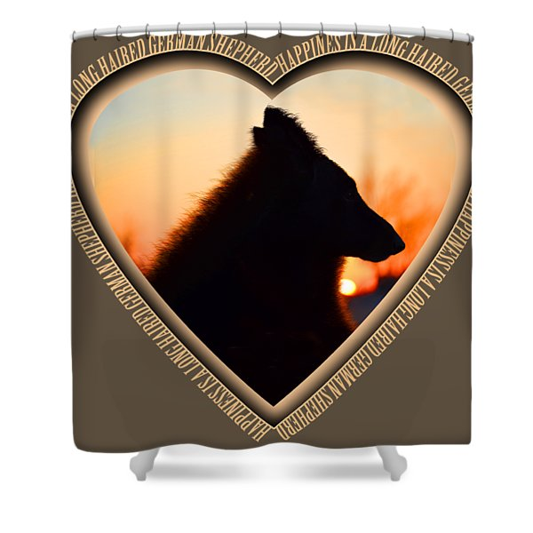 Wuffstar Happiness Is A Long Haired German Shepherd Heart Shower Curtain