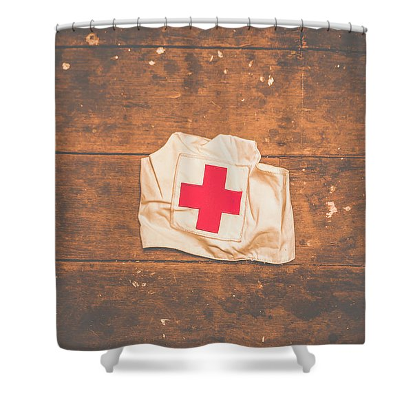 Ww2 Nurse Cap Lying On Wooden Floor Shower Curtain
