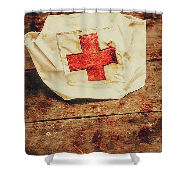 Ww2 Nurse Hat. Army Medical Corps Shower Curtain