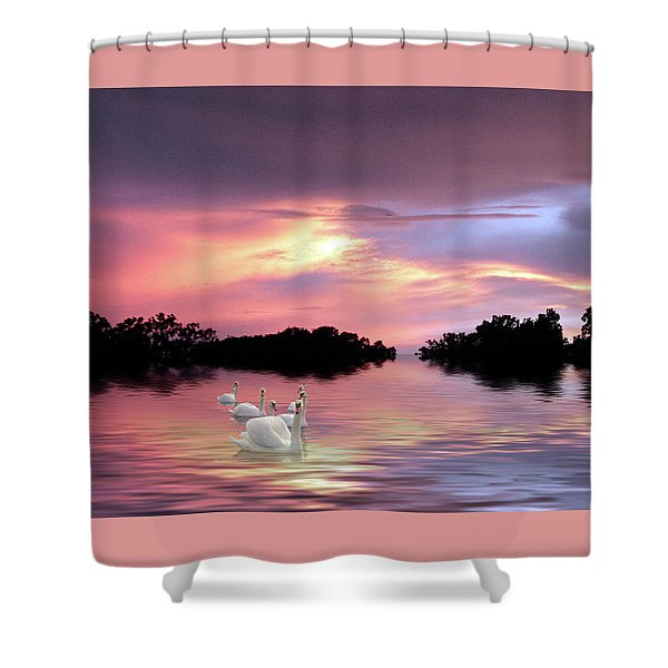 Sunset Swans Shower Curtain
