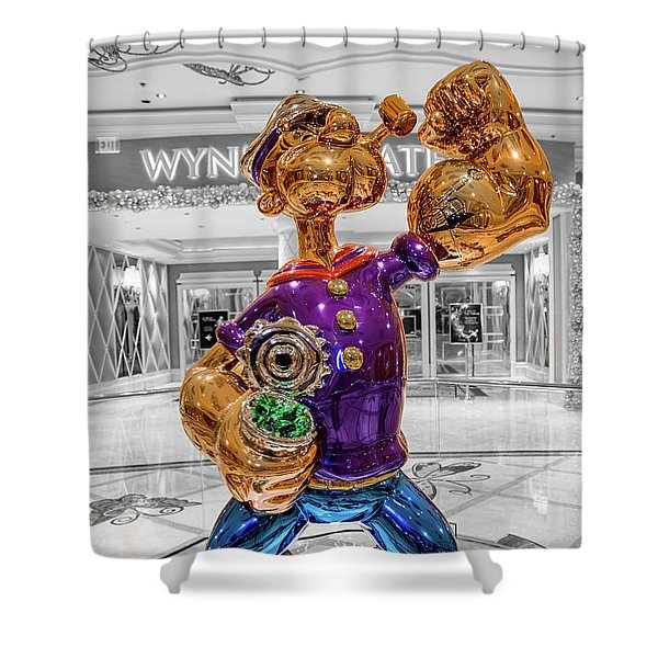 Wynn Popeye Statue Black White And Color By Jeff Koons Shower Curtain