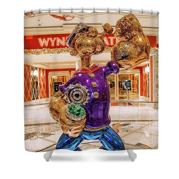 Wynn Popeye Statue By Jeff Koons Shower Curtain