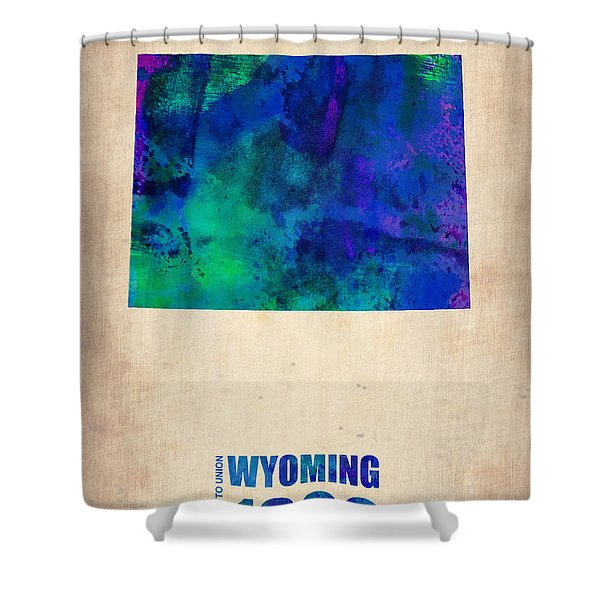Wyoming Watercolor Map Shower Curtain
